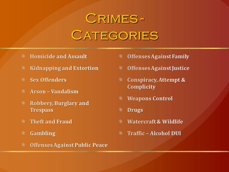 Crimes - Categories Offenses Against Family Offenses Against Justice Conspiracy, Attempt & Complicity Weapons Control Drugs Watercraft & Wildlife Traffic – Alcohol DUI