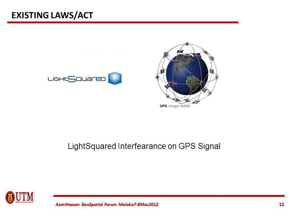12 AzmiHassan GeoSpatial Forum Melaka7-8Mac2012 LightSquared Interfearance on GPS Signal EXISTING LAWS/ACT