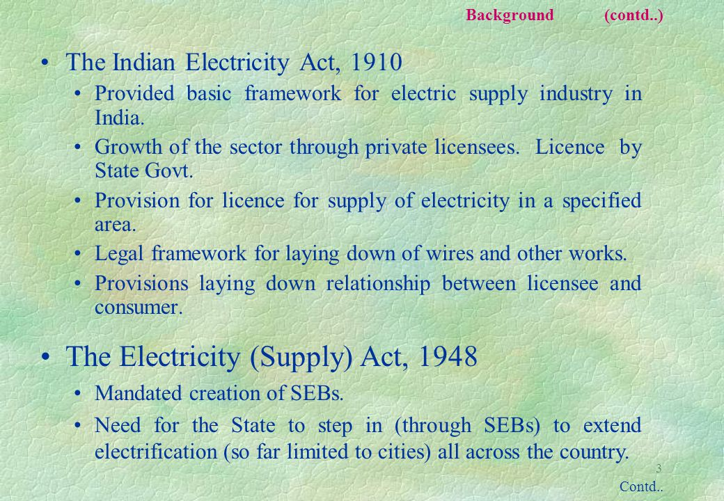 3 Background (contd..) The Indian Electricity Act, 1910 Provided basic framework for electric supply industry in India.