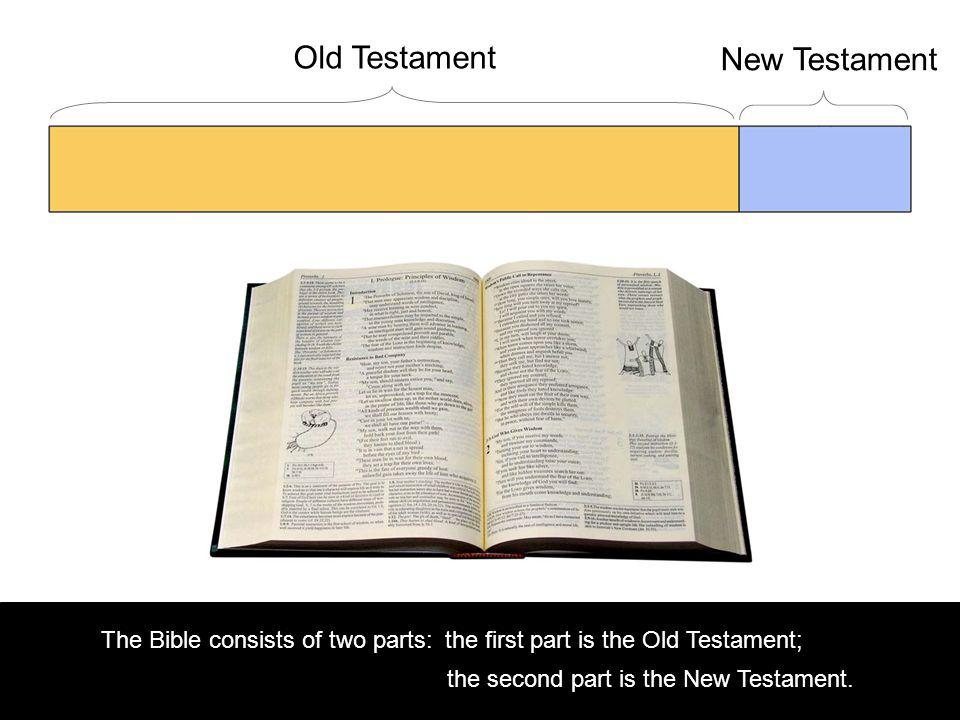 Old Testament New Testament The Bible consists of two parts:the first part is the Old Testament; the second part is the New Testament.