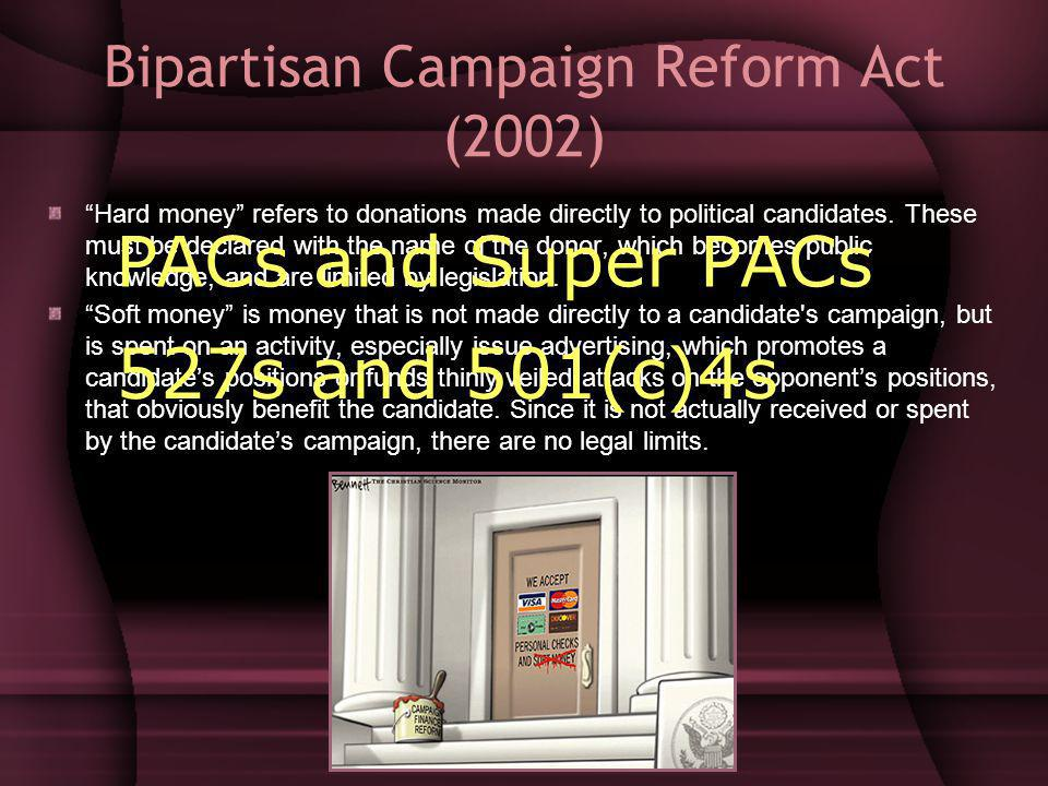 Bipartisan Campaign Reform Act (2002) Hard money refers to donations made directly to political candidates.