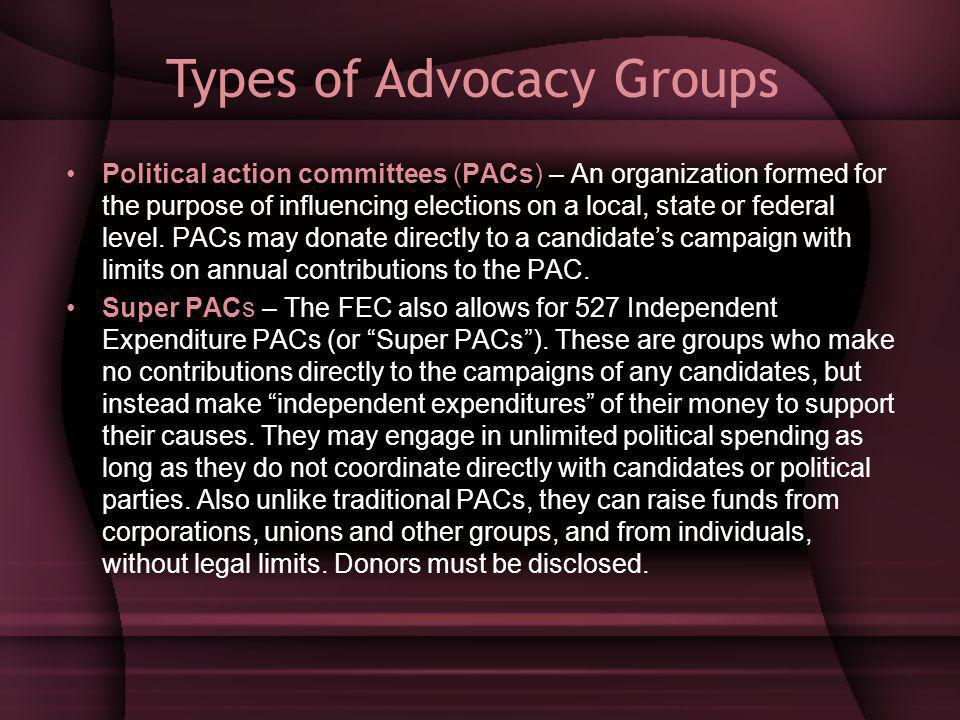 Political action committees (PACs) – An organization formed for the purpose of influencing elections on a local, state or federal level.