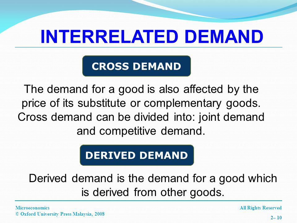 All Rights ReservedMicroeconomics © Oxford University Press Malaysia, – 10 Derived demand is the demand for a good which is derived from other goods.