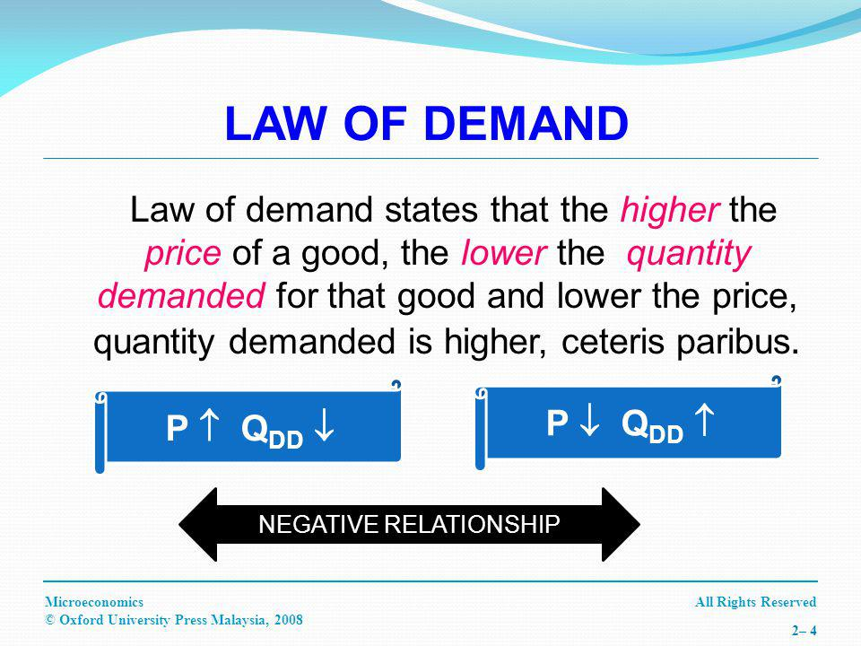 All Rights ReservedMicroeconomics © Oxford University Press Malaysia, – 4 LAW OF DEMAND Law of demand states that the higher the price of a good, the lower the quantity demanded for that good and lower the price, quantity demanded is higher, ceteris paribus.