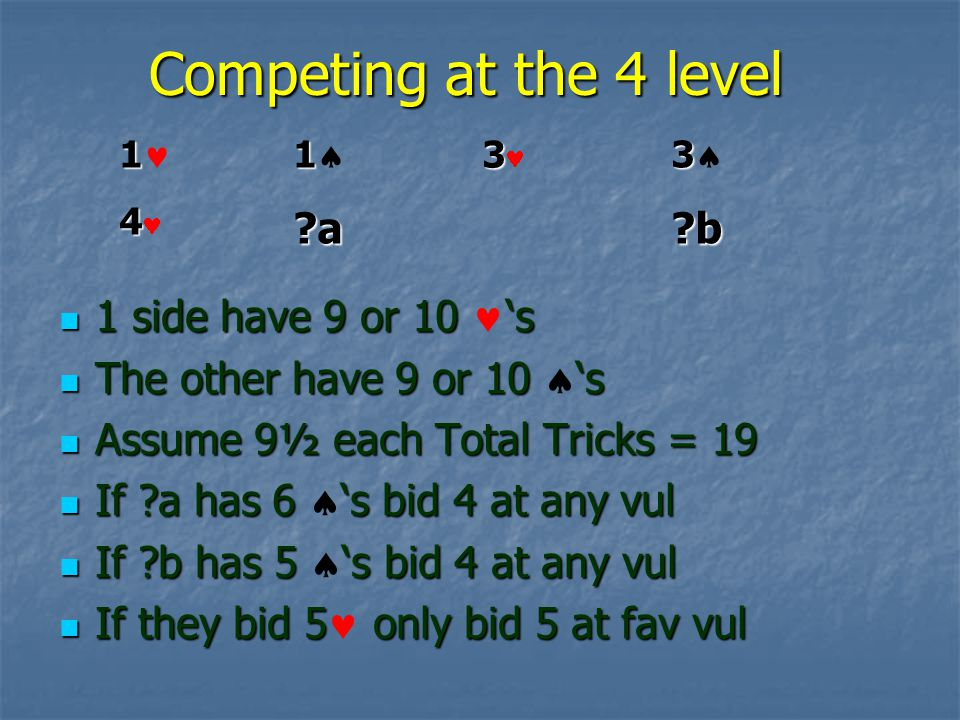 Competing at the 4 level 1 side have 9 or 10 s 1 side have 9 or 10 s The other have 9 or 10 s The other have 9 or 10 s Assume 9½ each Total Tricks = 19 Assume 9½ each Total Tricks = 19 If a has 6 s bid 4 at any vul If a has 6 s bid 4 at any vul If b has 5 s bid 4 at any vul If b has 5 s bid 4 at any vul If they bid 5 only bid 5 at fav vul If they bid 5 only bid 5 at fav vul 1 1 4 4 1 1 a 3 3 b