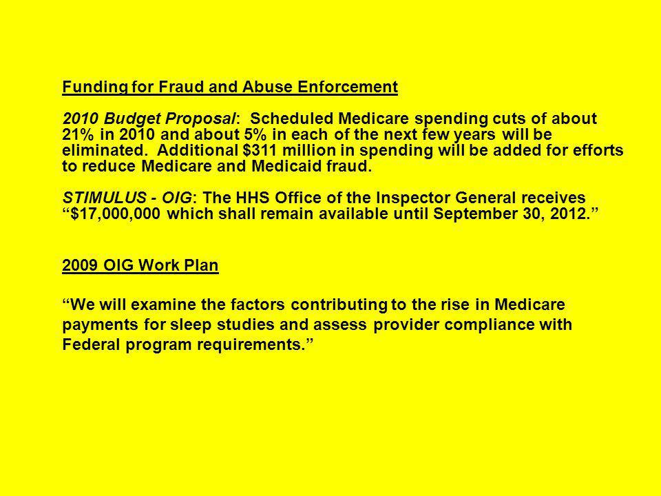 Funding for Fraud and Abuse Enforcement 2010 Budget Proposal: Scheduled Medicare spending cuts of about 21% in 2010 and about 5% in each of the next few years will be eliminated.