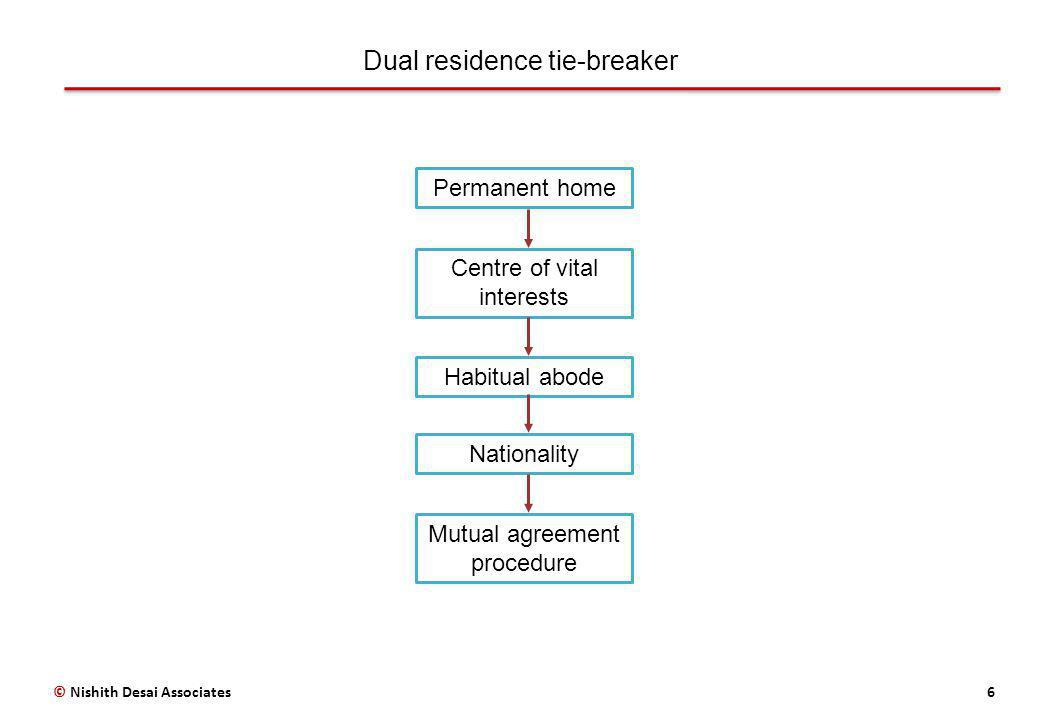 Dual residence tie-breaker 6© Nishith Desai Associates Permanent home Centre of vital interests Habitual abode Nationality Mutual agreement procedure