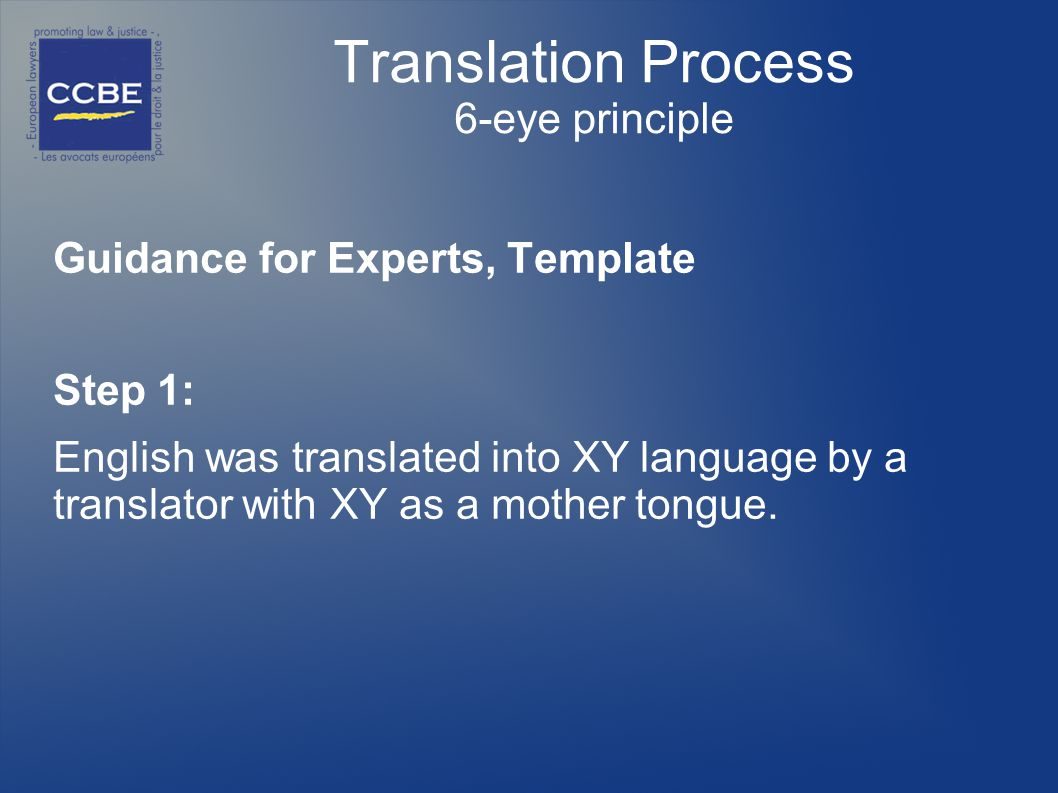 Translation Process 6-eye principle Guidance for Experts, Template Step 1: English was translated into XY language by a translator with XY as a mother tongue.