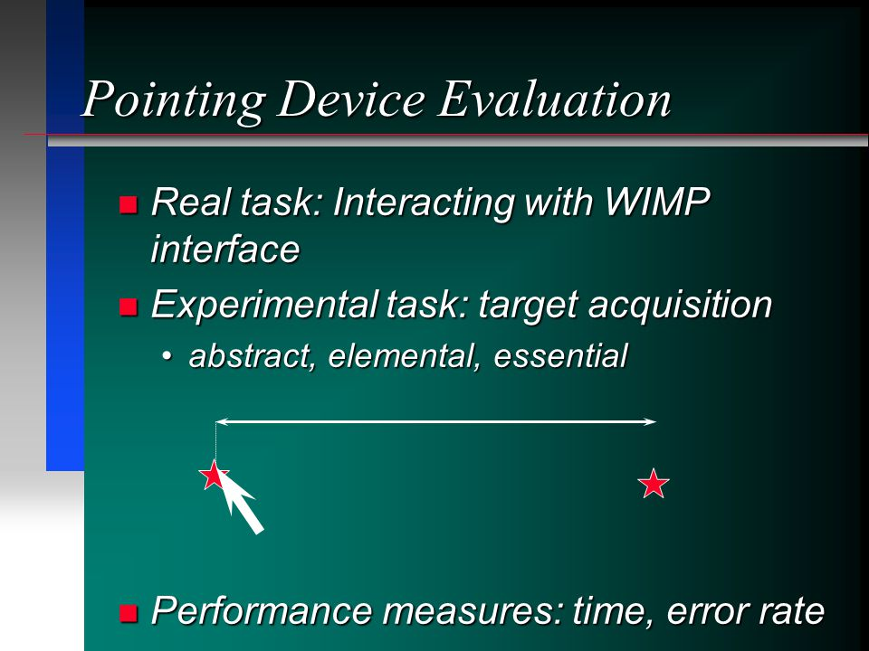 Real task: Interacting with WIMP interface Real task: Interacting with WIMP interface Experimental task: target acquisition Experimental task: target acquisition abstract, elemental, essentialabstract, elemental, essential Performance measures: time, error rate Performance measures: time, error rate Pointing Device Evaluation