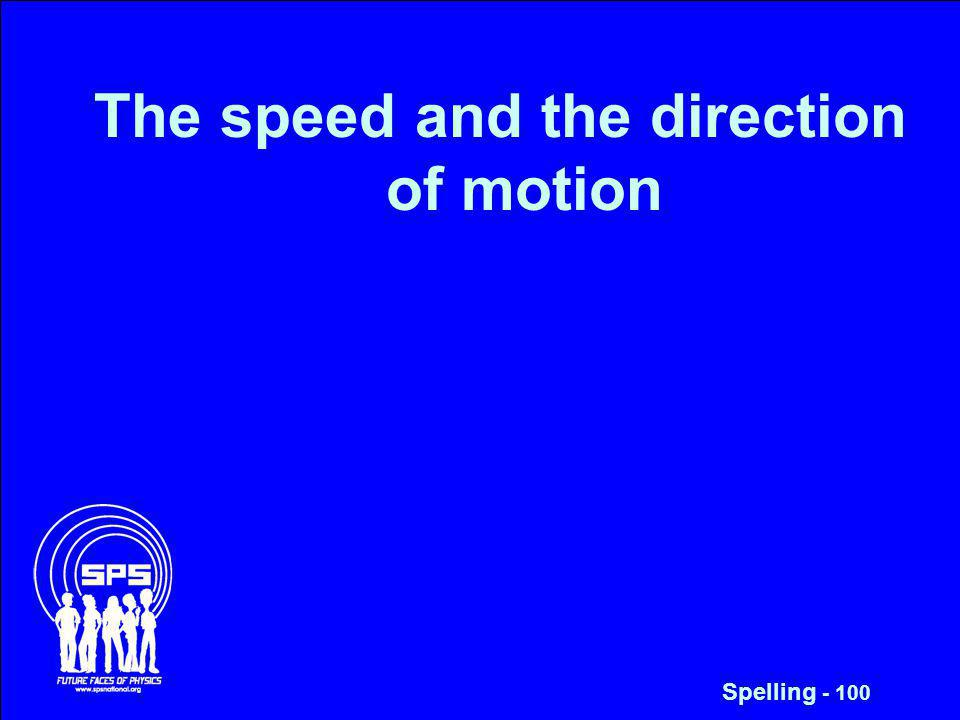 The speed and the direction of motion Spelling - 100