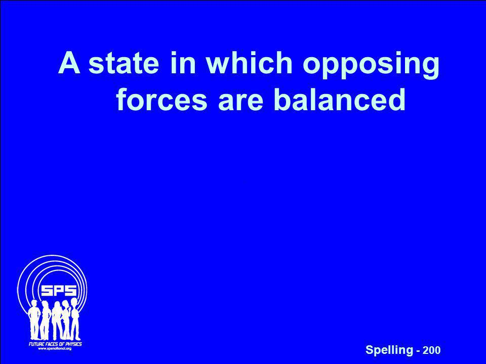 A state in which opposing forces are balanced Spelling - 200