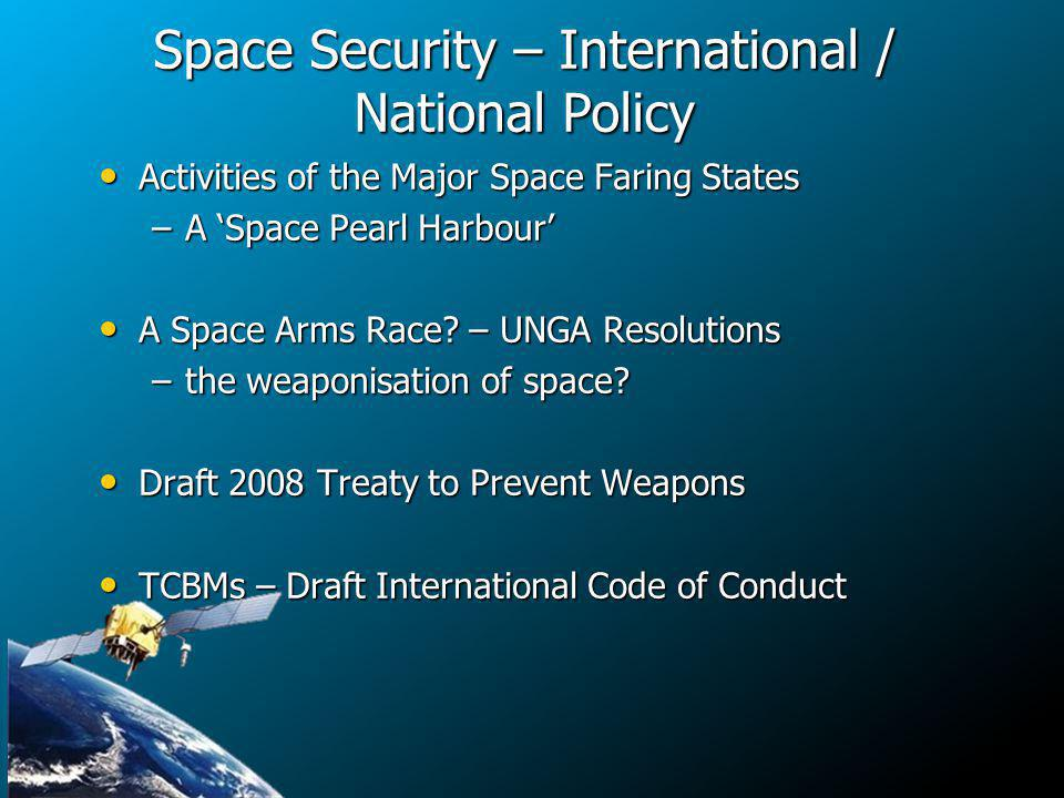 Space Security – International / National Policy Activities of the Major Space Faring States Activities of the Major Space Faring States –A Space Pearl Harbour A Space Arms Race.