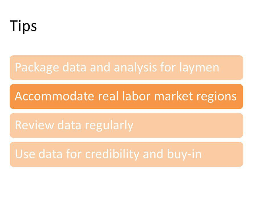 Tips Package data and analysis for laymenAccommodate real labor market regionsReview data regularlyUse data for credibility and buy-in
