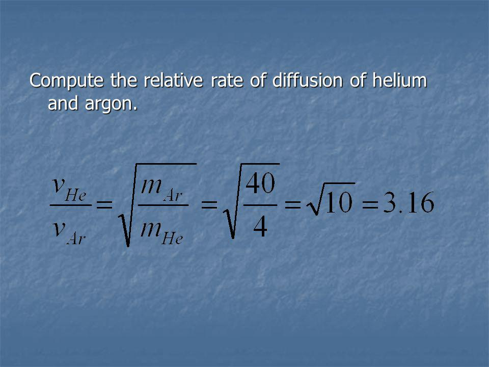 Compute the relative rate of diffusion of helium and argon.