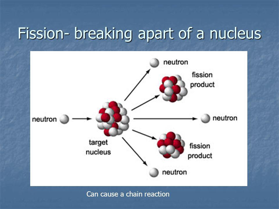 Fission- breaking apart of a nucleus Can cause a chain reaction