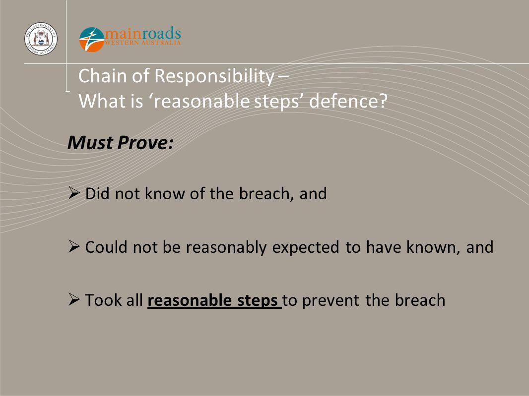 Chain of Responsibility – What is reasonable steps defence.