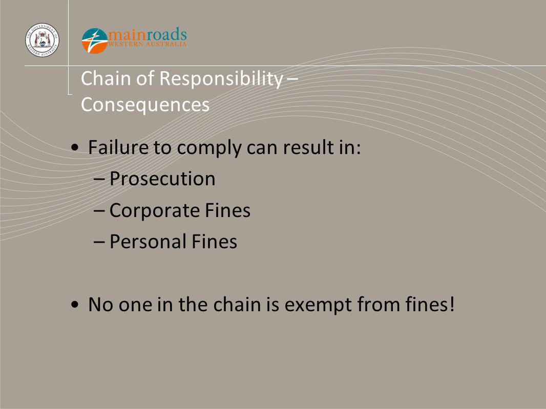 Chain of Responsibility – Consequences Failure to comply can result in: –Prosecution –Corporate Fines –Personal Fines No one in the chain is exempt from fines!
