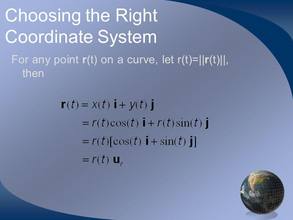 Choosing the Right Coordinate System For any point r(t) on a curve, let r(t)=||r(t)||, then