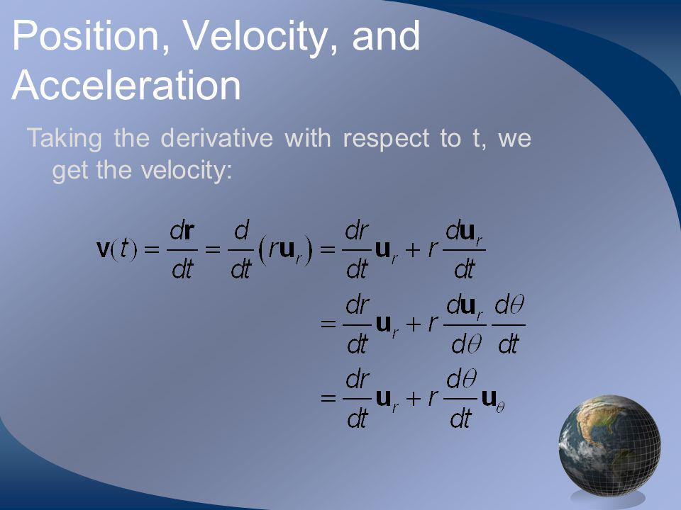 Position, Velocity, and Acceleration Taking the derivative with respect to t, we get the velocity: