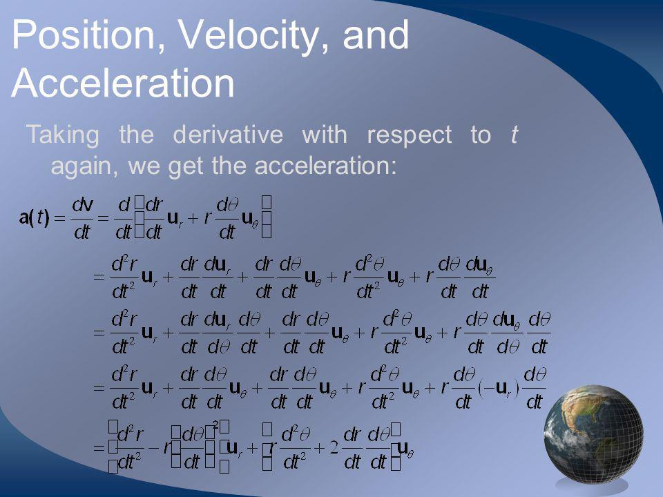 Position, Velocity, and Acceleration Taking the derivative with respect to t again, we get the acceleration: