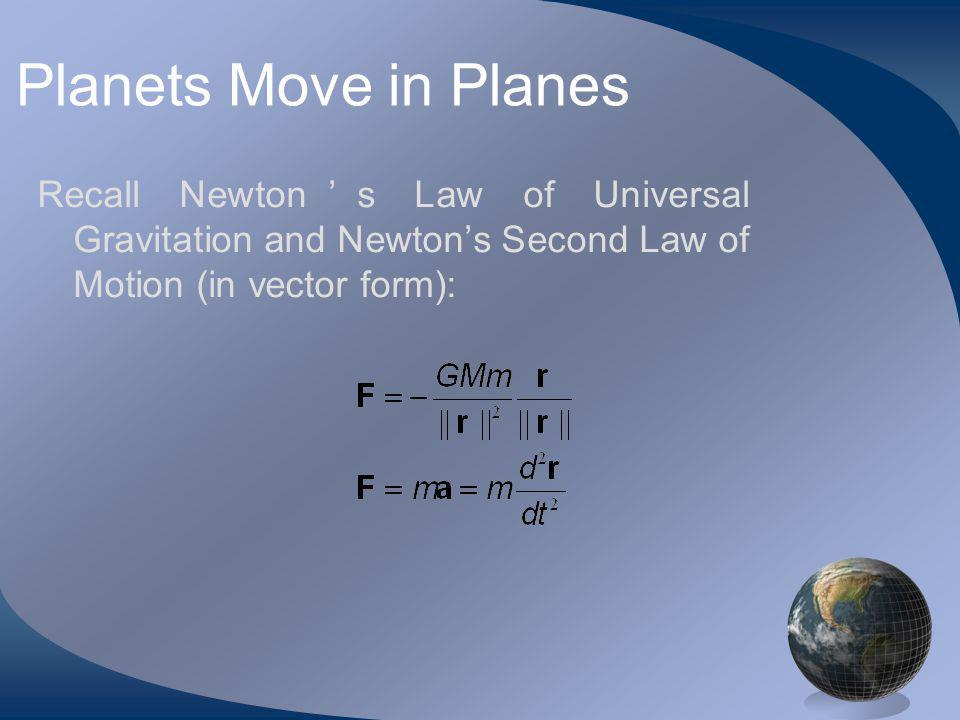 Recall Newtons Law of Universal Gravitation and Newtons Second Law of Motion (in vector form):