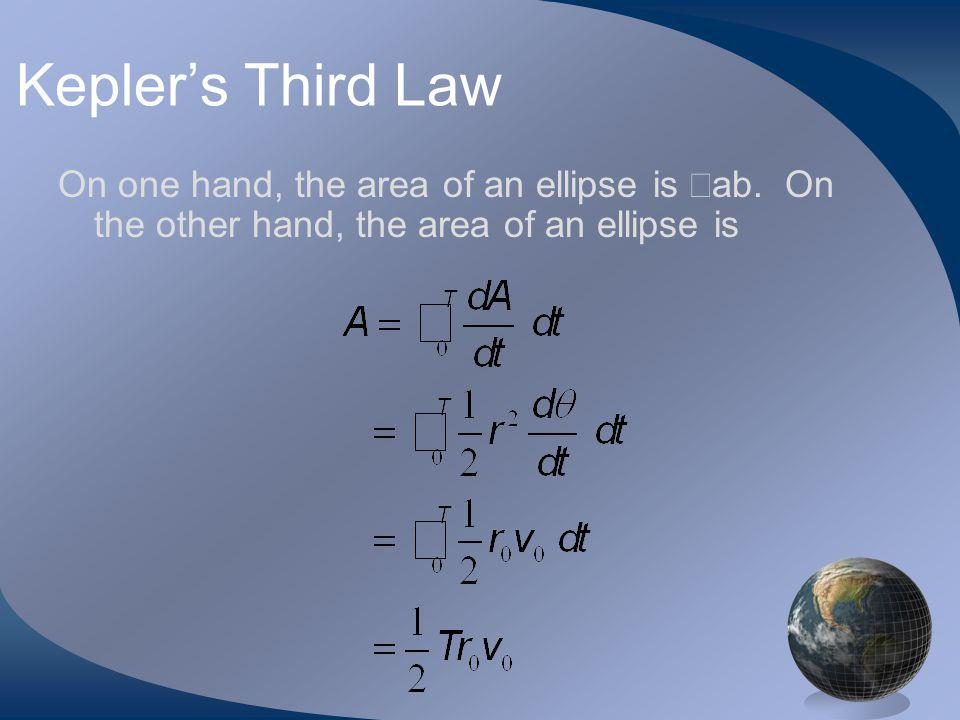 Keplers Third Law On one hand, the area of an ellipse is ab.