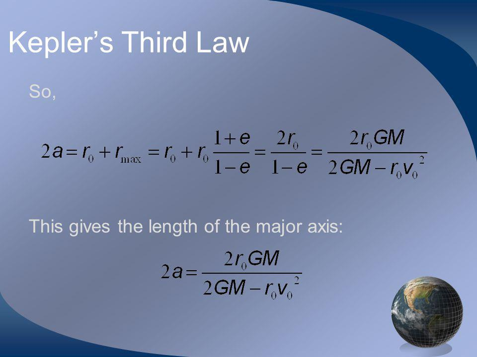 Keplers Third Law So, This gives the length of the major axis: