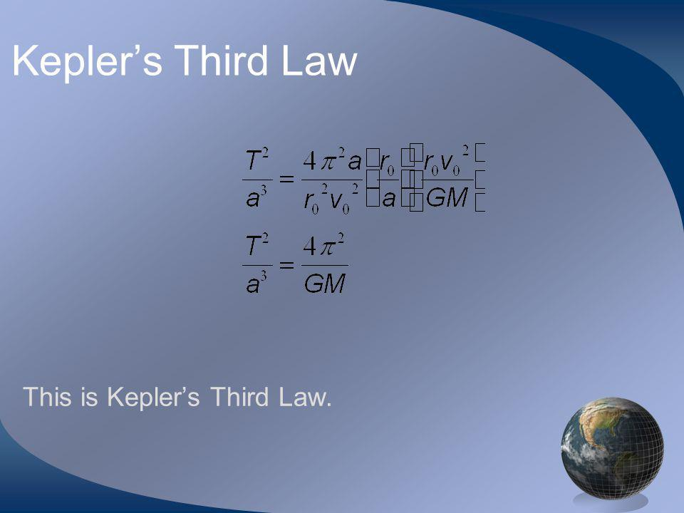 Keplers Third Law This is Keplers Third Law.