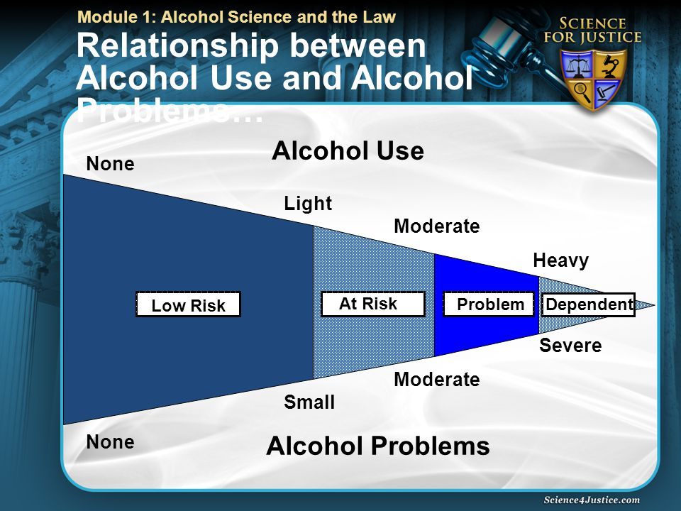 Module 1: Alcohol Science and the Law None Light Moderate Heavy None Small Moderate Severe Alcohol Problems Alcohol Use Low Risk At Risk Problem Dependent Relationship between Alcohol Use and Alcohol Problems…