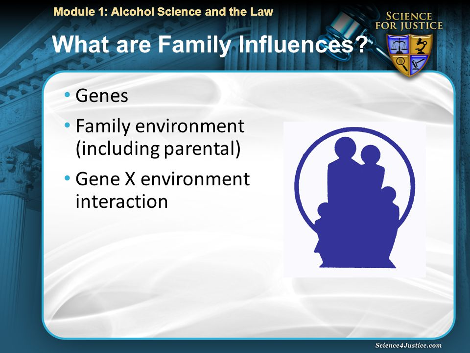 Module 1: Alcohol Science and the Law What are Family Influences.