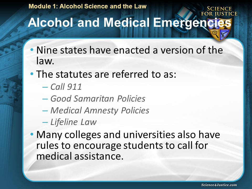 Module 1: Alcohol Science and the Law Alcohol and Medical Emergencies Nine states have enacted a version of the law.