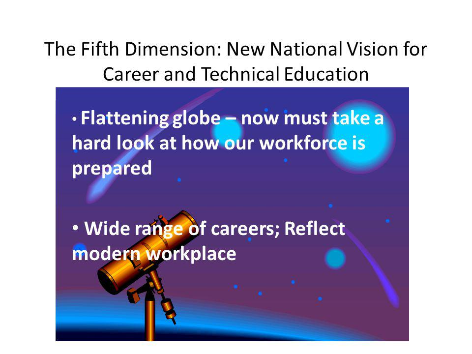The Fifth Dimension: New National Vision for Career and Technical Education Flattening globe – now must take a hard look at how our workforce is prepared Wide range of careers; Reflect modern workplace