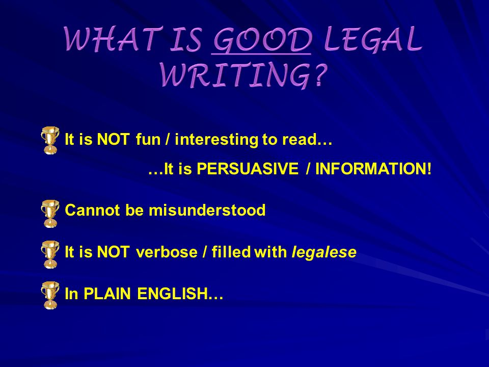 - Type of technical writing used by lawyers, presiding officers, legislators, etc.