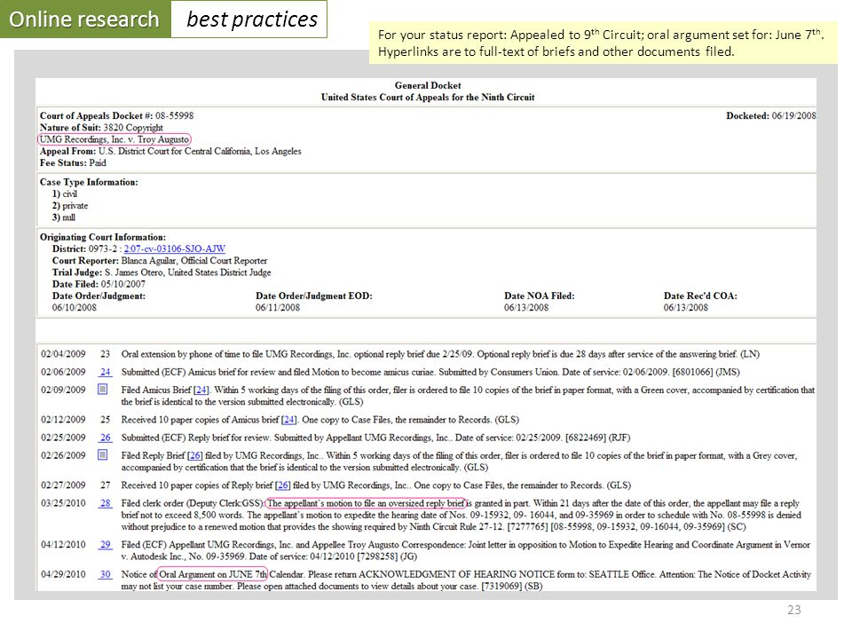 Online research best practices 23 For your status report: Appealed to 9 th Circuit; oral argument set for: June 7 th.