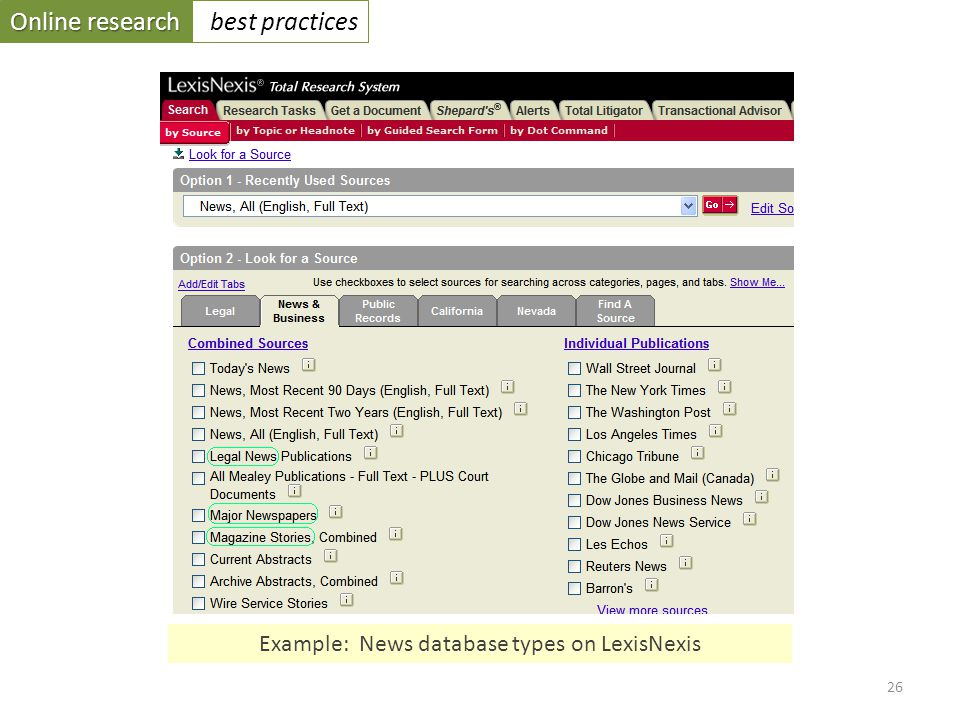 Online research best practices 26 Example: News database types on LexisNexis