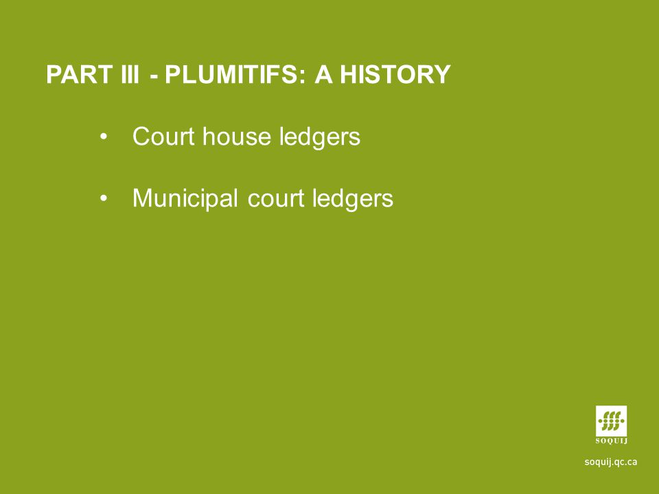 PART III - PLUMITIFS: A HISTORY Court house ledgers Municipal court ledgers