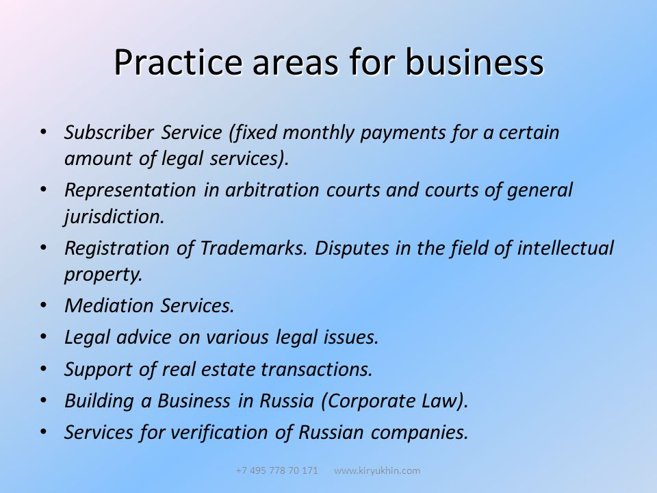 Practice areas for business Subscriber Service (fixed monthly payments for a certain amount of legal services).