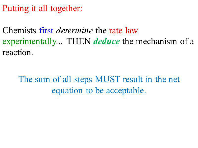 Putting it all together: Chemists first determine the rate law experimentally...