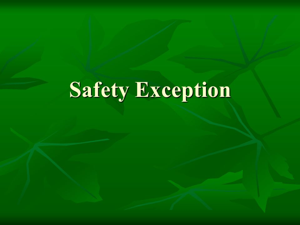 Safety Exception