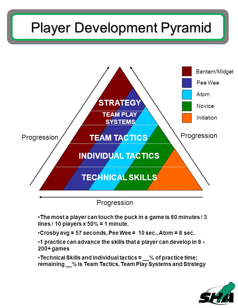 Player Development Pyramid STRATEGY TEAM PLAY SYSTEMS TEAM TACTICS INDIVIDUAL TACTICS TECHNICAL SKILLS Bantam/Midget Pee Wee Atom Novice Initiation Progression The most a player can touch the puck in a game is 60 minutes / 3 lines / 10 players x 50% = 1 minute.