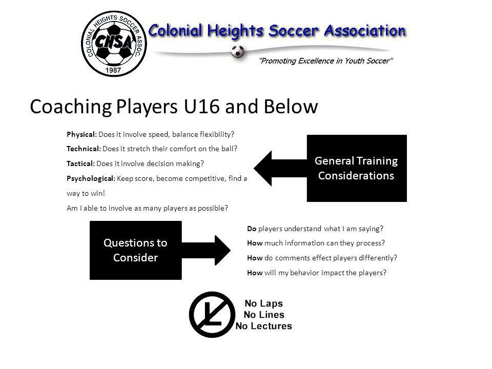 Coaching Players U16 and Below Physical: Does it involve speed, balance flexibility.