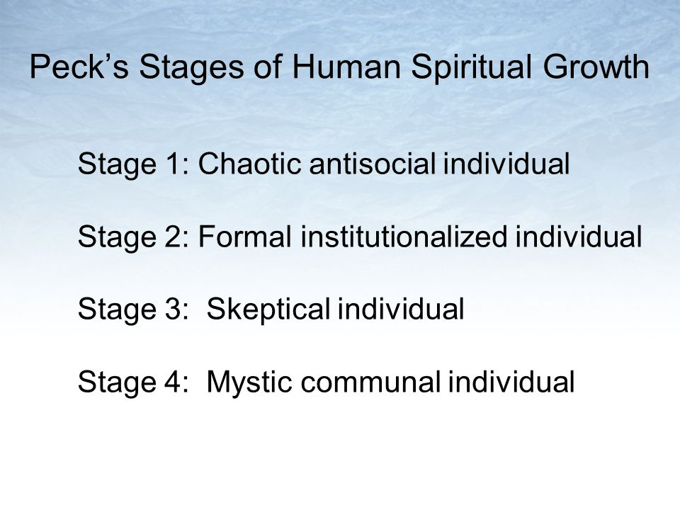 Pecks Stages of Human Spiritual Growth Stage 1: Chaotic antisocial individual Stage 2: Formal institutionalized individual Stage 3: Skeptical individual Stage 4: Mystic communal individual