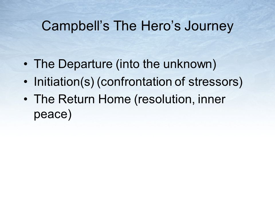Campbells The Heros Journey The Departure (into the unknown) Initiation(s) (confrontation of stressors) The Return Home (resolution, inner peace)