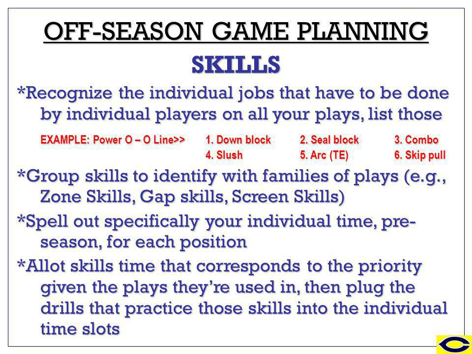 ZONE & REACH BLOCKING OFF-SEASON GAME PLANNING SKILLS *Recognize the individual jobs that have to be done by individual players on all your plays, list those EXAMPLE: Power O – O Line>> 1.