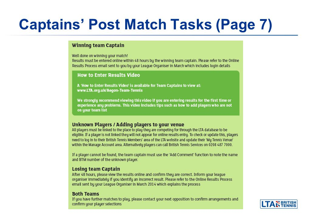 Captains Post Match Tasks (Page 7)