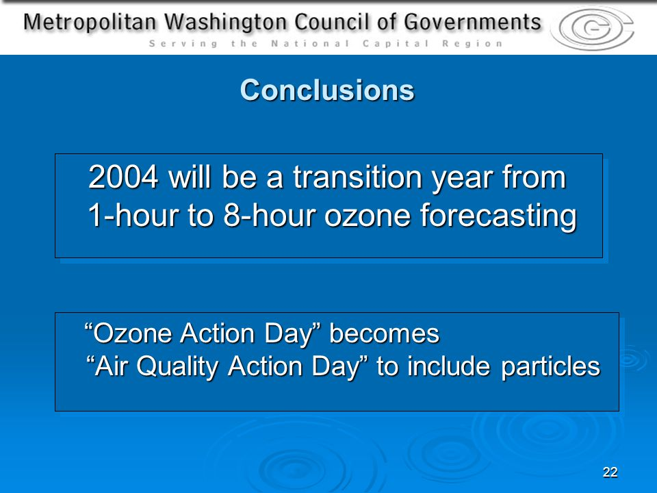 22 Conclusions 2004 will be a transition year from 1-hour to 8-hour ozone forecasting 2004 will be a transition year from 1-hour to 8-hour ozone forecasting Ozone Action Day becomes Air Quality Action Day to include particles Ozone Action Day becomes Air Quality Action Day to include particles