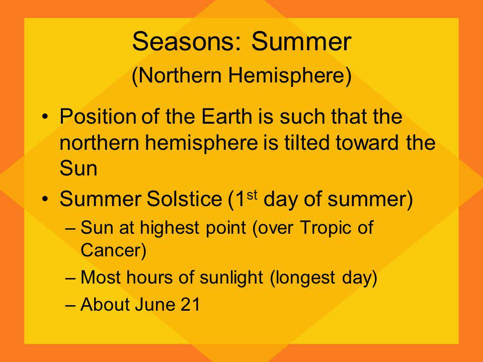 Seasons: Summer (Northern Hemisphere) Position of the Earth is such that the northern hemisphere is tilted toward the Sun Summer Solstice (1 st day of summer) –Sun at highest point (over Tropic of Cancer) –Most hours of sunlight (longest day) –About June 21