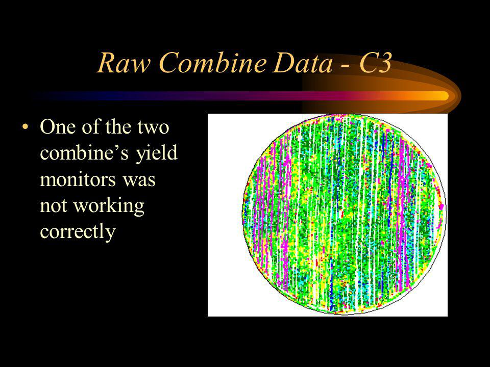 Raw Combine Data - C3 One of the two combines yield monitors was not working correctly