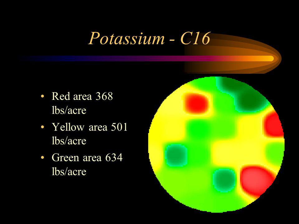 Potassium - C16 Red area 368 lbs/acre Yellow area 501 lbs/acre Green area 634 lbs/acre