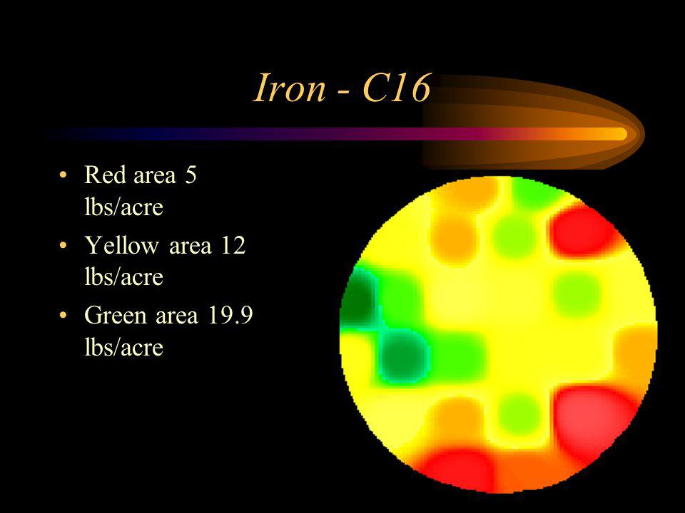 Iron - C16 Red area 5 lbs/acre Yellow area 12 lbs/acre Green area 19.9 lbs/acre